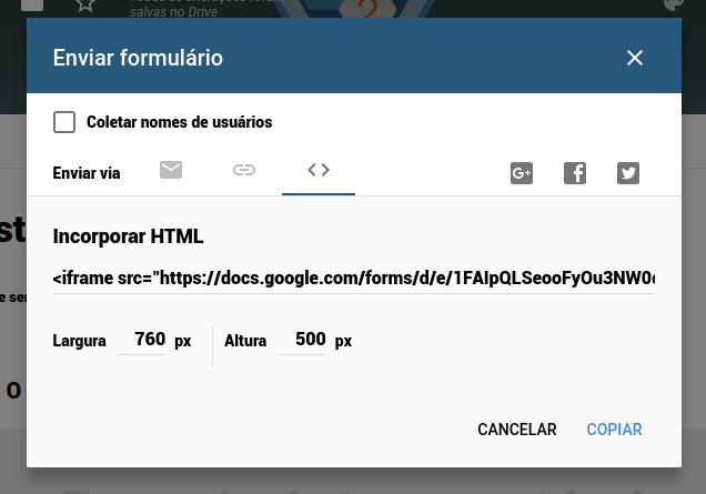 Passo 8: Como compartilhar o Quiz > HTML