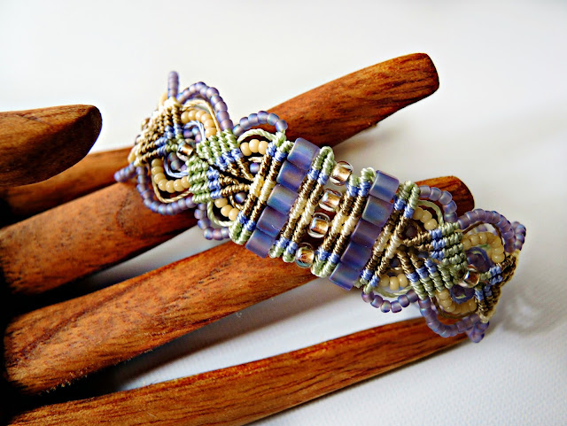 Micro macrame bracelet in spring colors by Sherri Stokey of Knot Just Macrame.