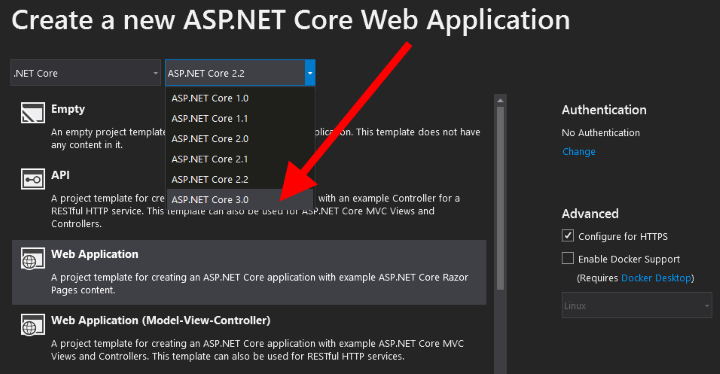 ASP.NET Core 3 en Visual Studio 2019