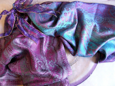 Indian silk scarves with purples and turquoise paisley designs