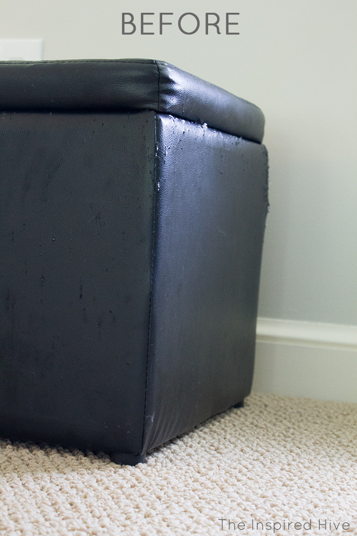 how to make an easy diy wooden storage ottoman with a leather upholstered lid
