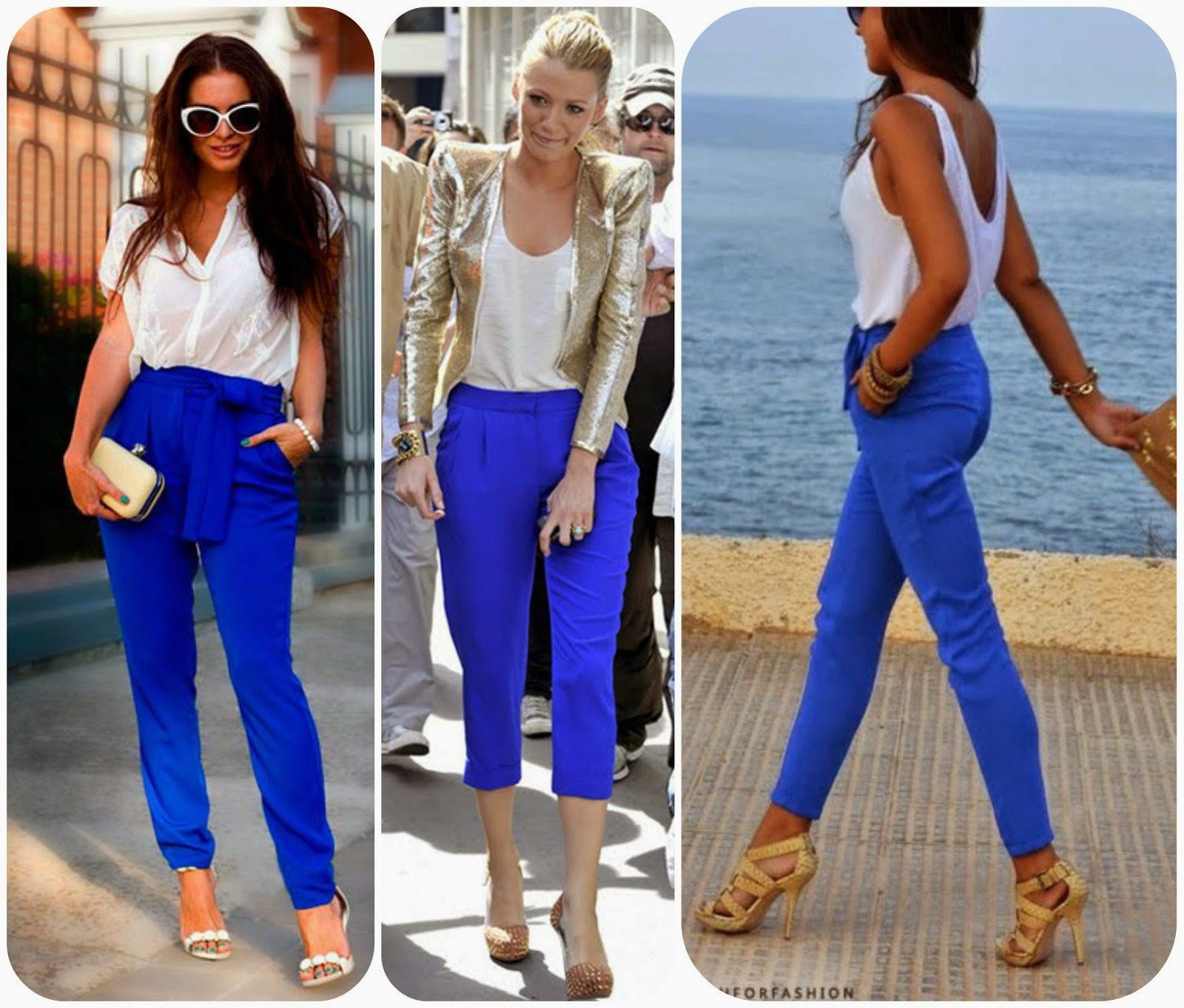 How to wear blue pants, how to style blue pants, blue fashion style