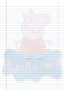 Folha Papel Pautado Peppa Pig rabiscado PDF para imprimir na folha A4