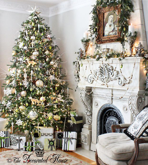 The Decorated House :: Christmas White and Silver with Black and Green Accents