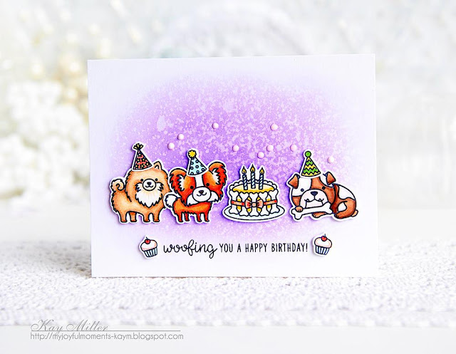 Sunny Studio Stamps: Party Pups Watercolored Background Cards by Kay Miller