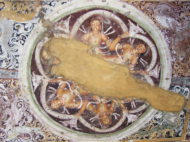 central medallion on the ceiling of Ajanta cave 17