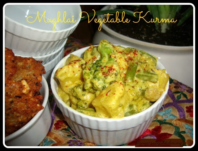 image of Mughlai Vegetable Kurma Recipe / Mughlai Vegetable Korma Recipe / Vegetable Kurma Mughlai Style