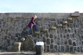 Rachel Knowles walking up the steps on the Cobb, Lyme Regis (2016)