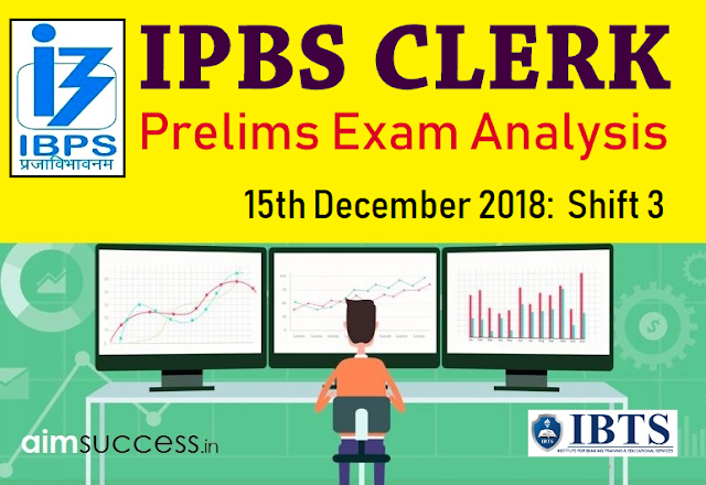 IBPS Clerk Prelims Exam Analysis 15th December 2018:  Shift 3