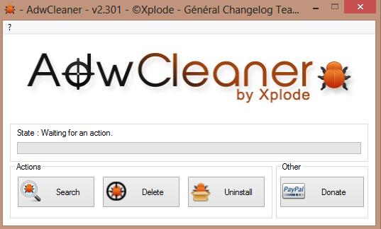 AdwCleaner tool per rimuovere delta homes