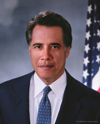 Photo composite of Mitt Romneys hair, forehead and ears with Barack Obama's face, skin tone adjusted to Obama's