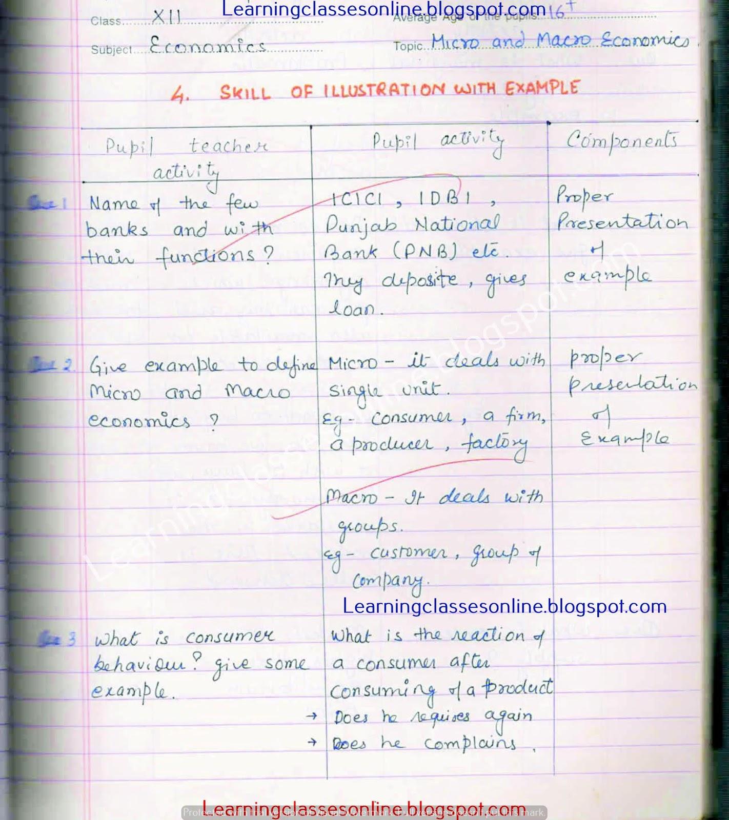 micro and macro economics b.ed lesson plan for teachers of high school