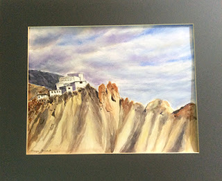 Water colour painting of Dhankar Monastery at Himachal Pradesh . By Manju Panchal