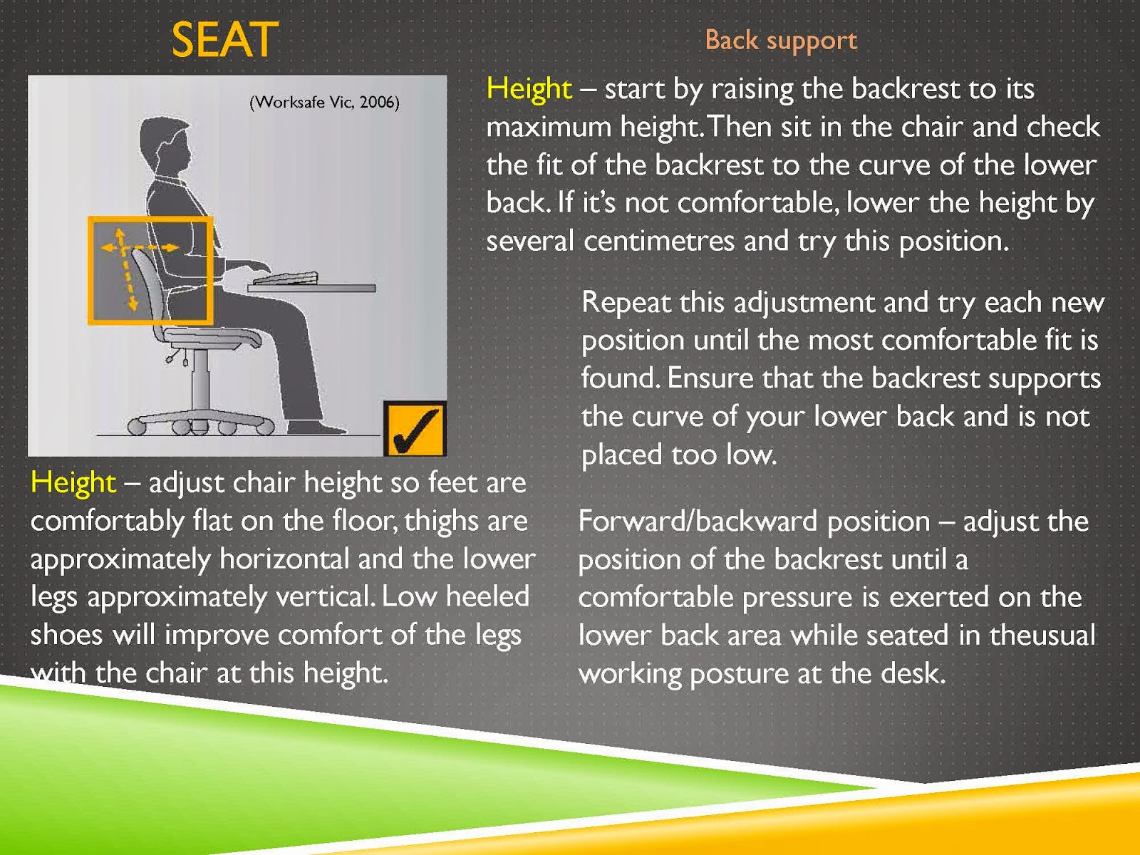 WORK SAFE SEAT TIPS