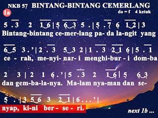 Lirik dan Not NKB 57 Bintang-bintang Cemerlang