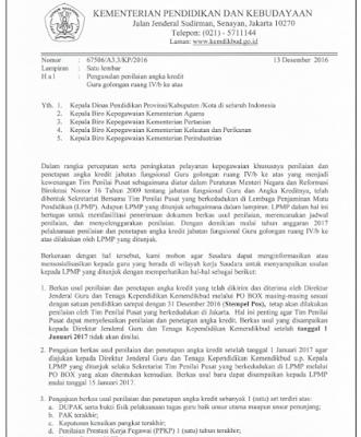 Surat Edaran Pengusulan Penilaian Angka Kredit Guru Golongan IV/B
