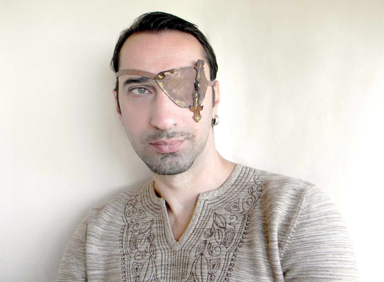 Man Eye Patch Steampunk Eye Patch Medieval Archer Brown Leather Man Accessories