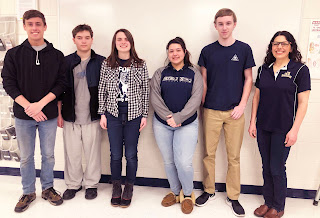 In photo from l-r are: Eric Kugler, Jacob Lipson, Katie Dion, Averi Ayre, Colin Donoghue, and Mrs. Magas