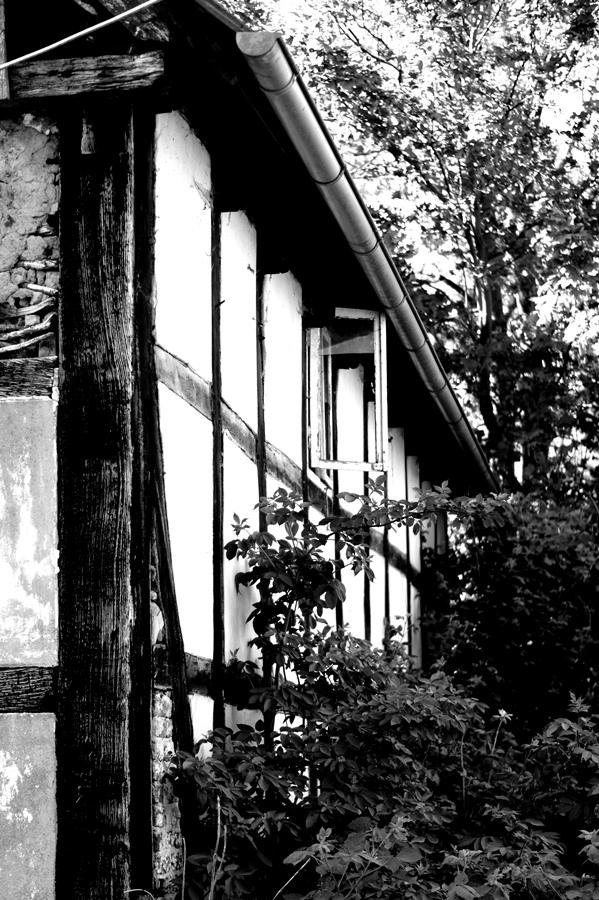 Blog + Fotografie by it's me! | fim.works | SchwarzWeissBlick No 17 | verlassenes Gehöft | Lost Place | offenstehendes Fenster
