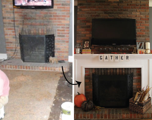 hammers and high heels revisiting our fireplace diy projects building a mantel for under 100. Black Bedroom Furniture Sets. Home Design Ideas