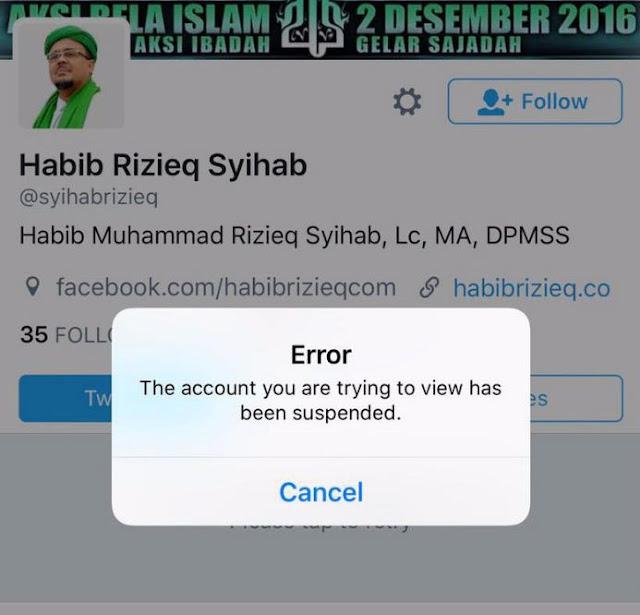 MENGHEBOHKAN, AKUN TWITTER HABIB RIZIEQ DAN DPP FPI DISUSPEND