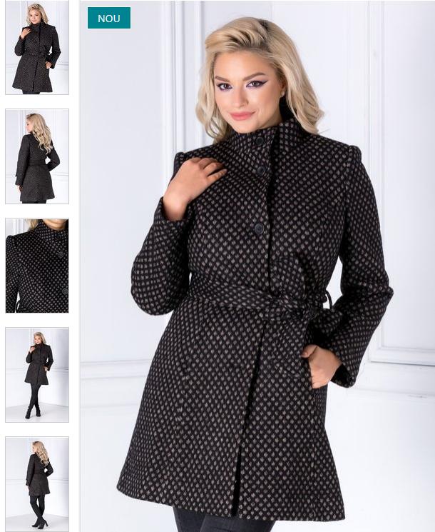 Pardesiu dama elegant negru cu insertii bej la moda de iarna