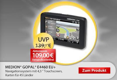 Navigationsgerät Medion GoPal E4460 EU für 107,10 Euro inklusive Versandkosten