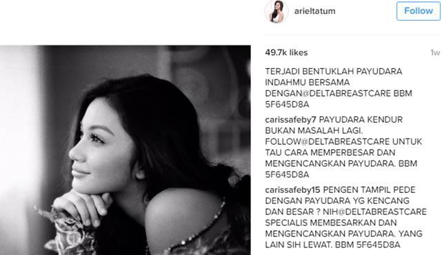 """Foto seksi artis cantik Ariel Tatum di instagram dihiasi dengan """"Payudara"""""""