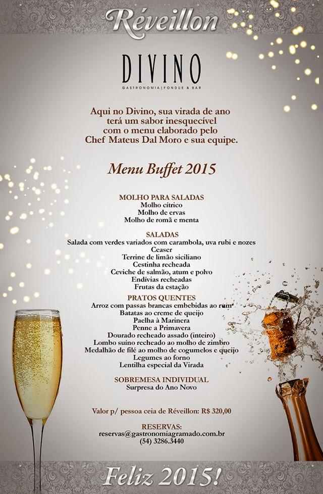 Restaurante Divino - Ceia de Réveillon 2014/2015