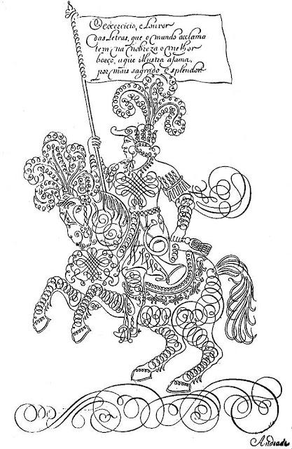 Ilustração do livro Nova Escola para aprender a ler, escrever e contar, de autoria de Manuel de Andrade Figueiredo, publicado em Portugal no ano de 1722 (1a. edição).