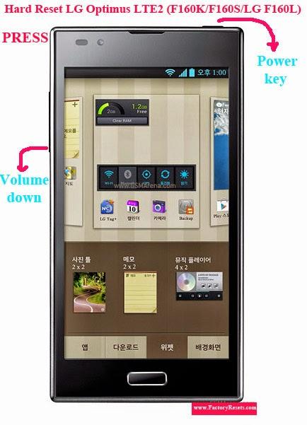 Hard Reset LG Optimus LTE2 (F160K/F160S/LG F160L)