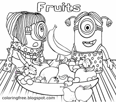 Black and white drawing flying banana orange and apple bowl of fruit minion banana coloring pages
