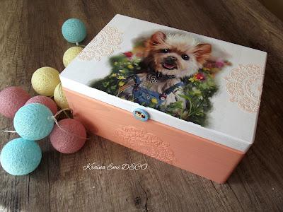 Morelowa szkatułka z yorkiem dla dziewczynki