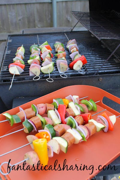 Kielbobs | These kabobs feature peppers, zucchini, onion, potatoes, and, last but not least: KIELBASA! #grill #recipe