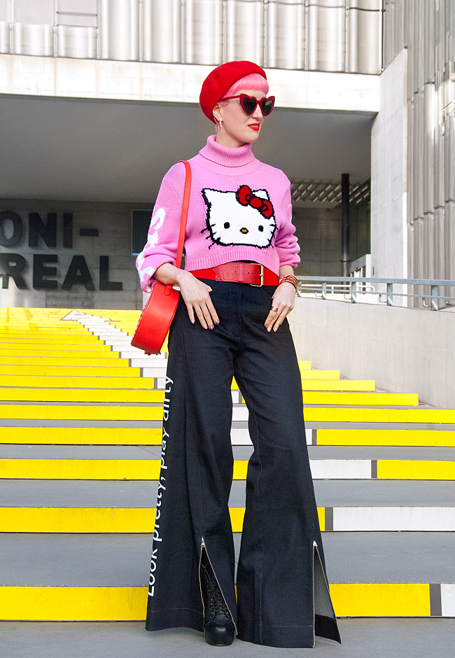 Damur, widelegged trousers, Hello Kitty