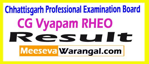 CG Vyapam RHEO Result 2017
