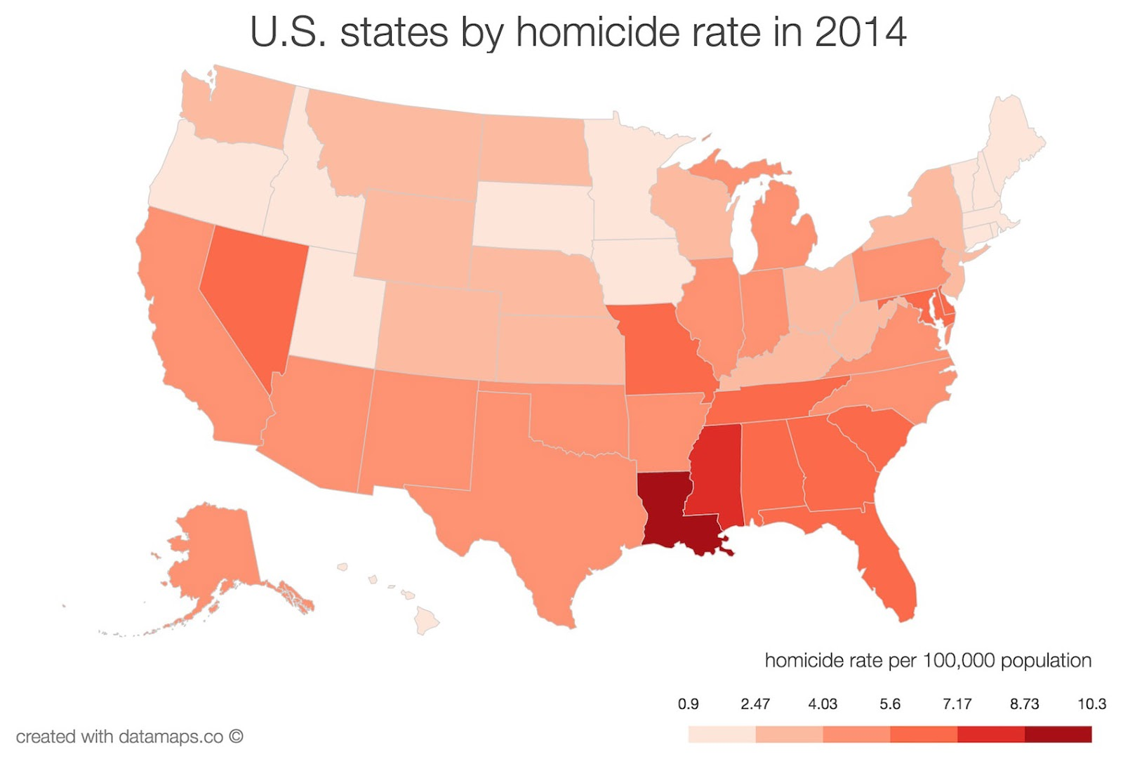 USA states by homicide rate