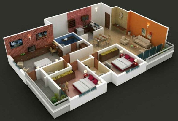 3D floor plans with 3 bedrooms