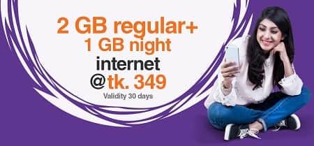Banglalink 2 GB + 1 GB Free Night Internet Package 349 Taka for 30 Days