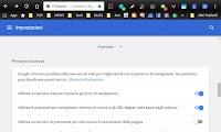 Impostazioni privacy di Chrome per la sicurezza dei dati