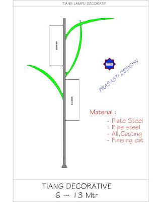 Jual Tiang Lampu Jalan Galvanis-Tiang PJU Oktagonal-Lampu Jalan 7 8 9