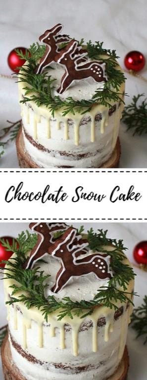 Chocolate Snow Cake #christmas #cake