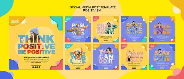 Positivism concept social media post Free Psd