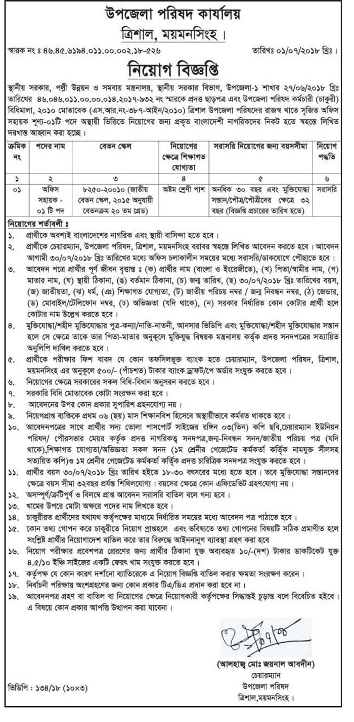 Upazila parishad job