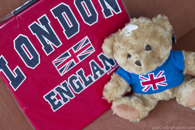 Union Jack flag souvenir shirt and teddy bear from London, England