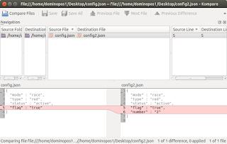 Comparing two files using Kompare on Ubuntu