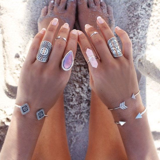 Wearing a Boho Tibetan Rings, Quartz Ring, Midi Rings with Arrow Bracelet for Stylish Beach Look 2016