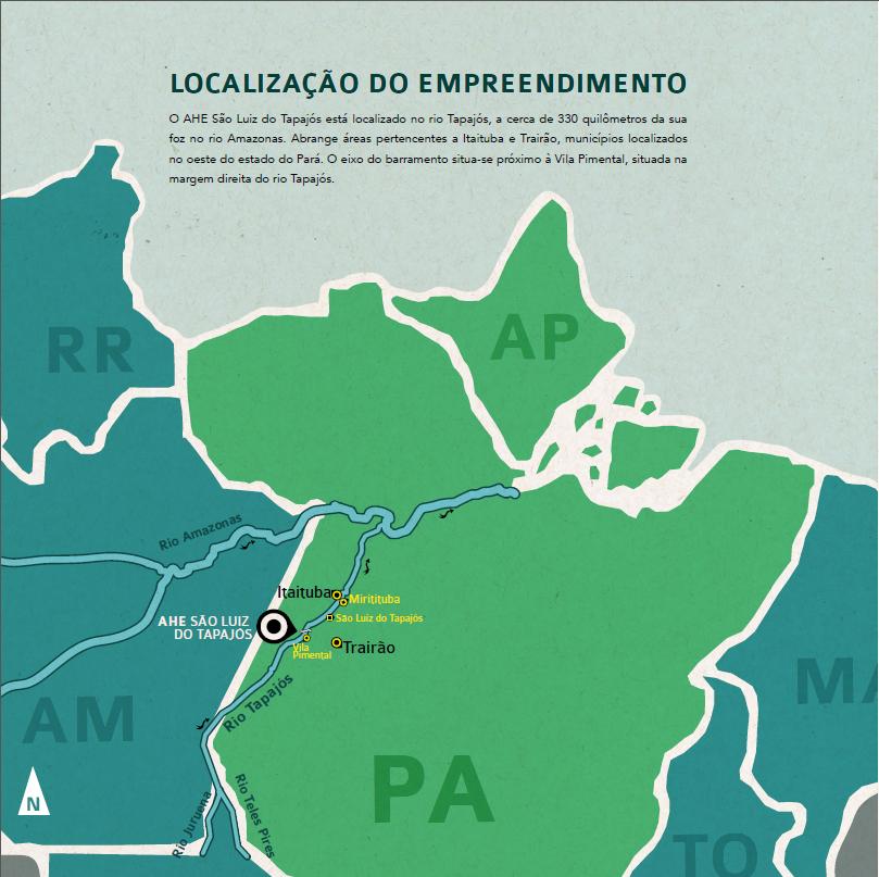 Localização proposta para a UHE São Luiz do Tapajós. Mapa no blogue de Telma Monteiro