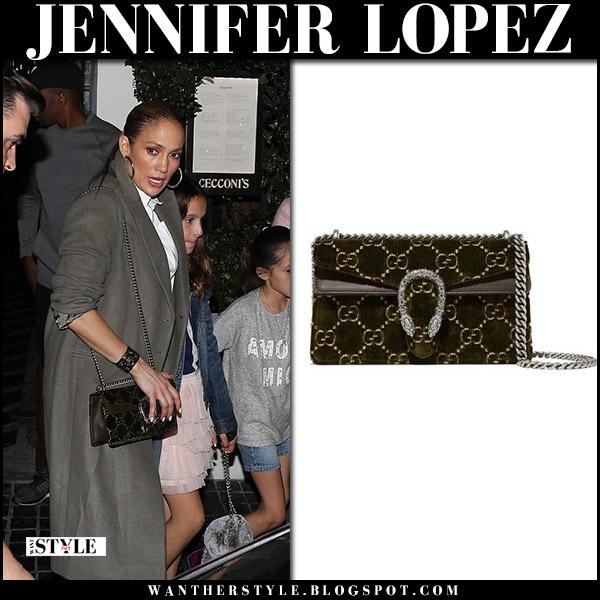 Jennifer Lopez in grey coat with dark green velvet shoulder bag gucci gg dionysus celebrity style december 28