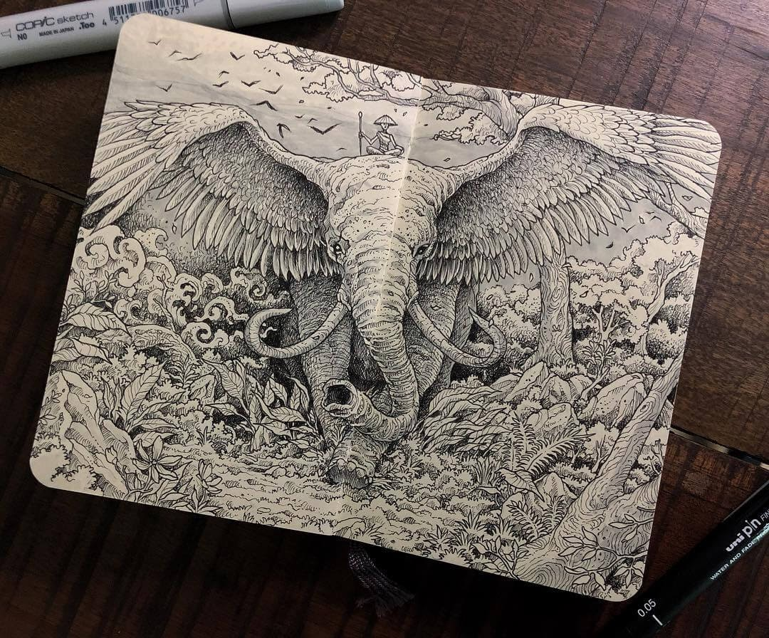 10-A-Winged-Elephant-Kerby-Rosanes-Detailed-Fantasy-Ink-Drawings-www-designstack-co